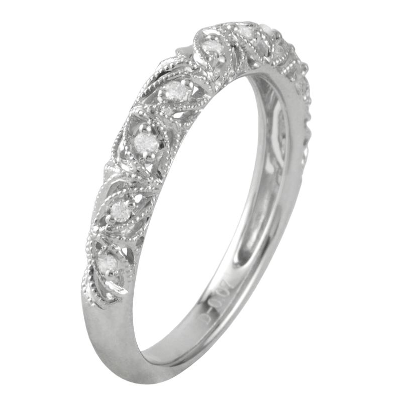 Filigree Wedding Band.Diamond Filigree Wedding Band