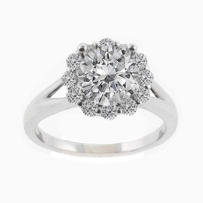 18k White Gold Halo Wedding Band with Diamonds-Diamonds