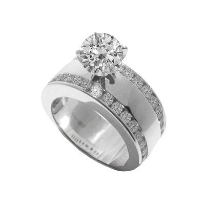 Diamond Wide Double Row Engagement Ring Brooks Diamonds