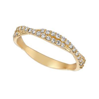 Yellow Gold Diamond Twist Band-Diamonds