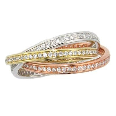 Tricolor Eternity Diamond Rolling Bands-Diamonds