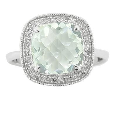 Green Amethyst & Diamond Ring-Diamonds
