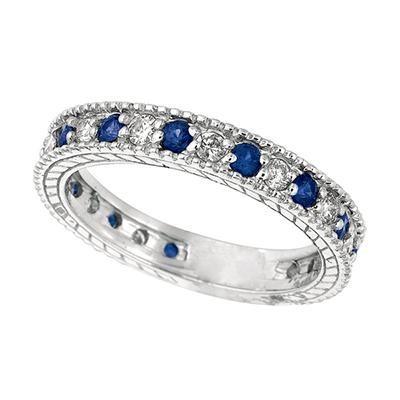 Blue Sapphire & Diamond Band-Diamonds