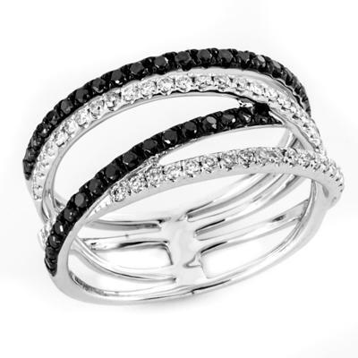 Black and White Diamond Fashion Ring-Diamonds