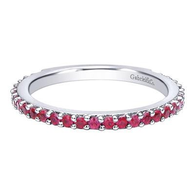 White Gold Ruby Stackable Ring-Fashion Jewelry