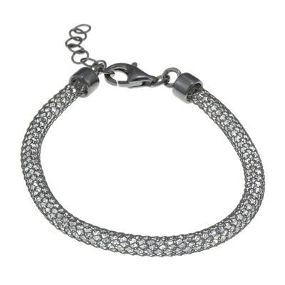 Sterling Silver Black Rhodium Mesh Bracelet-Silver Jewelry