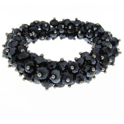 Black crystal bead bracelet-Silver Jewelry