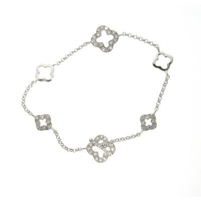 Sterling Silver Clover Bracelet with CZs-Silver Jewelry
