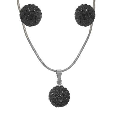 Crystal Earrings & Necklace Set-Silver Jewelry