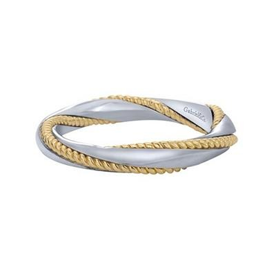 Gabriel & Co Sterling Silver & Yellow Gold Twist Ring-Silver Jewelry