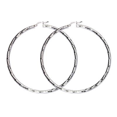 Sterling Silver Diamond Cut Hoop Earrings-Silver Jewelry