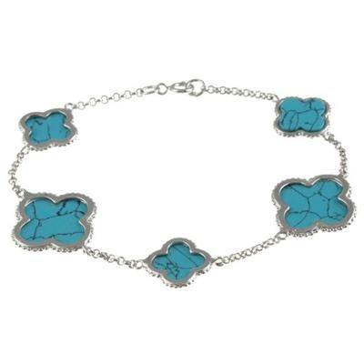 Sterling Silver Turquoise Clover Bracelet-Silver Jewelry