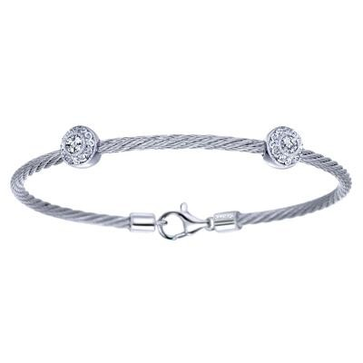Sterling Silver & Stainless Steel Cable Circle Bracelet-Silver Jewelry