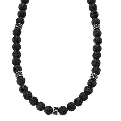 TRITON Stainless Beaded Necklace-Mens Jewelry