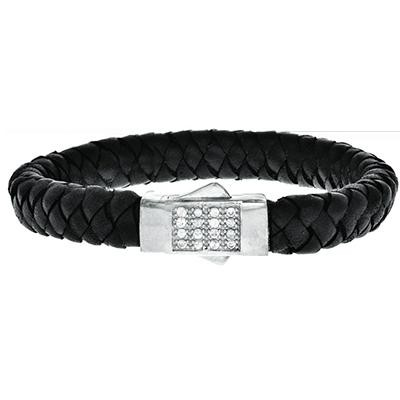 Sterling Silver & Leather Bracelet – Brooks Diamonds