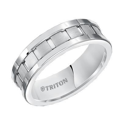 TRITON White Tungsten Band-Mens Wedding Bands
