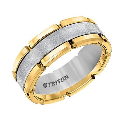 Two Tone Tungsten Wedding Band Brooks Diamonds