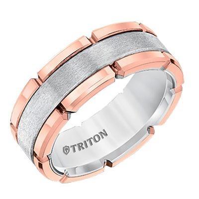 TRITON Tungsten Two Tone Band-Mens Wedding Bands