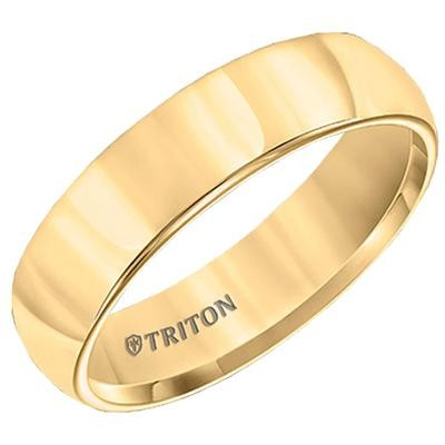 TRITON Yellow Tone Tungsten Band-Mens Wedding Bands