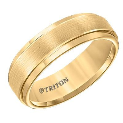 TRITON Yellow Tone Tungsten Band-Mens Wedding Bands