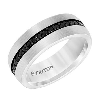 Black Sapphire Tungsten Wedding Band Brooks Diamonds