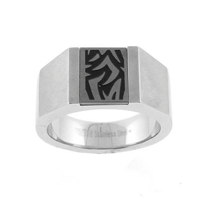 TRITON Stainless Steel Tatoo Band-Mens Wedding Bands